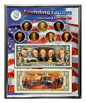 "Founding Fathers Colorized Coin & Currency Set in 8"" x 10"" Frame"