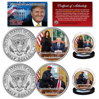 President Trump with Kanye West & Kim Kardashian Colorized JFK 2 Coin Set