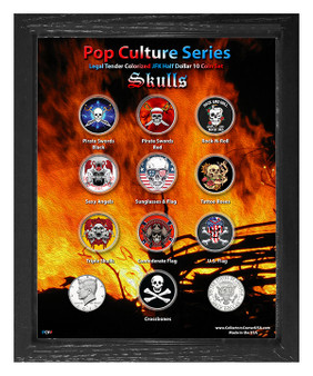 "Pop Culture Series - Skull Art Colorized JFK Half Dollar 10 Coin Set in 8"" x 10"" Frame"