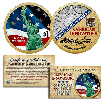 American Innovators $1 Dollar Coin 2018 1st Release - 2-Sided COLORIZED