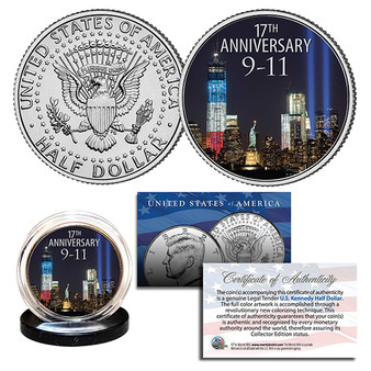 2018 World Trade Center 9/11 17th Anniversary Colorized JFK Half Dollar