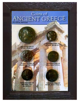 "Coins Of Ancient Greece 6 Coin Set of Historical Replicas in 5"" x 7"" Frame"