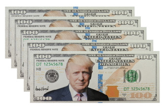 Set of 5 President Trump Silver Foil $100 Novelty Bills