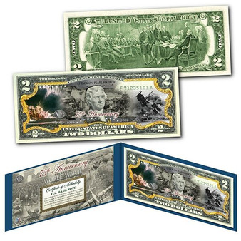 75th Anniversary End of World War II Colorized $2 Bill Attack On Pearl Harbor