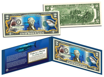 Great White Shark Collectible Colorized $2 Bill