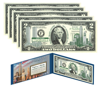 10th Anniversary 9/11 Emerald Green $2 Bill Set of 5 Consecutive Serial Numbers