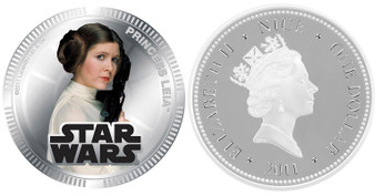 Princess Leia Star Wars Coins 2011 Silver Plated Proof Coin