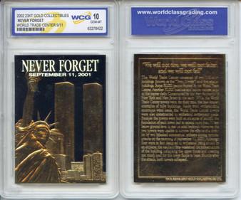 WTC 2002 Original Black Gold 23K Gold Sculptured Card Graded Gem Mint 10