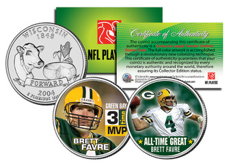 Brett Favre 3 Time MVP & All-Time Great Wisconsin State Quarter 2 Coin Set