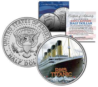 Titanic Close-Up Colorized JFK Half Dollar
