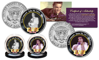 Elvis Presley First & Last Concerts JFK Half Dollar 2 Coin Set