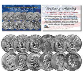 """Eisenhower """"Ike"""" Dollars 6 Coin Set Complete Set of all Years 1971-1978 With Capsules"""