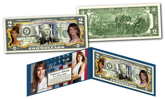 Melania Trump 1st Lady of the United States Commemorative Colorized $2 Bill