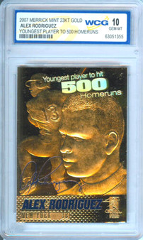 Alex Rodriguez 500 Home Runs 2007 23K Gold Sculptured Card Graded Gem Mint 10