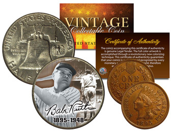 Babe Ruth Lifespan Commemorative Colorized 2 Coin Set