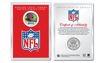 "NFL Helmet Colorized JFK Half Dollars in 4""x 6"" Acrylic Lens NFL Display Case"