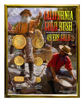 "California Gold Rush 49ers Gold Historical 24K Gold Plated Replica Set in 8"" x 10"" Frame - V"