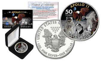 APOLLO 11 50th Anniversary Man on Moon Colorized Silver Eagle in Case