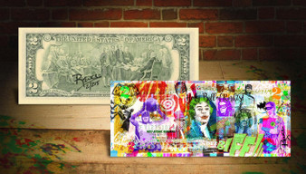 Rency Art Batman Holy Bill Of Rights Colorized $2 Bill Hand Signed and Limited Edition Numbered of 215