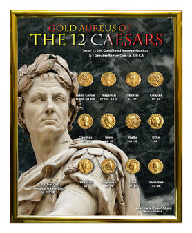 "Gold Aureus of the 12 Caesars 24K Gold Plated Historical Replica Set in 8"" x 10"" Frame - V"