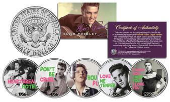 Elvis Presley 1956 #1 Songs Colorized 5 Coin JFK Half Dollar Set