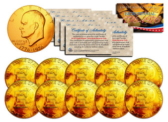 Set of 10 24K Gold Plated Bicentennial Ike Dollars