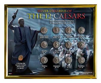 "Silver Denarius of the 12 Caesars ""Senate"" Historical Replica Set in 8"" x 10"" Frame - H"
