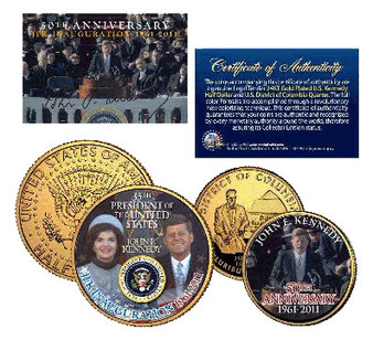JFK 50th Inauguration 24K Gold-Plated & Colorized JFK Half Dollar and Washington DC Territorial Quarter 2 Coin Set