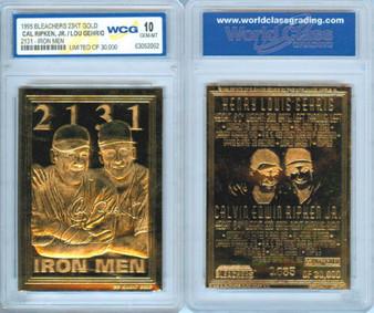 Cal Ripken Lou Gehrig Ironmen 1995 23K Gold Sculptured Card Graded Gem Mint 10