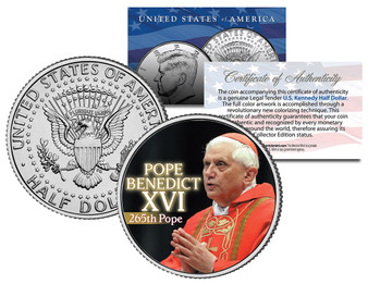 Pope Benedict XVI Commemorative Colorized JFK Half Dollar