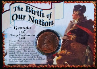 1791 Georgia George Washington Cent Historical Colonial Replica Coin