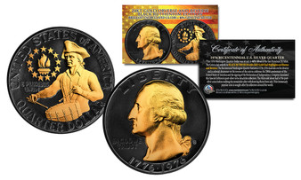 Black Ruthenium Clad 24K Gold Plated 1976 S Silver Bicentennial Quarter