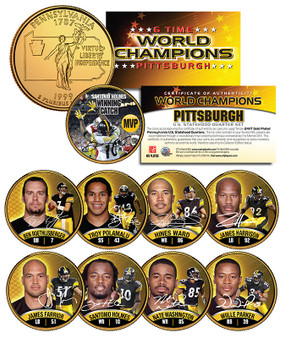"""Pittsburgh Steelers """"6-Time Champions"""" 24K Gold Plated State Quarter 9 Coin Set"""