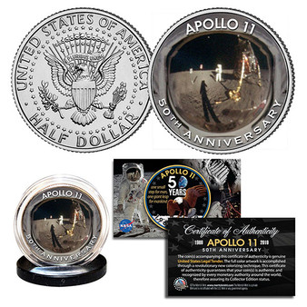APOLLO 11 50th Anniversary Moon Landing Golden Visor Iconic Image Colorized JFK Half Dollar
