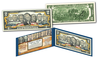 United States Banknote Portraits Commemorative Colorized $2 Bill