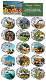 Dinosaurs Complete Colorized JFK Half Dollar 15 Coin Set