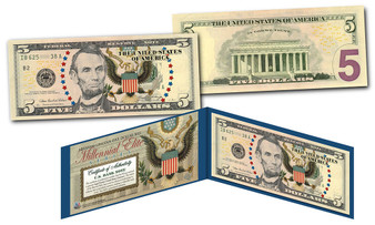 Millennial Elite Series Symbols Of Freedom High-Def Colorized $5 Bill