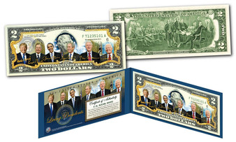 Living Presidents With Donald Trump Colorized $2 Bill