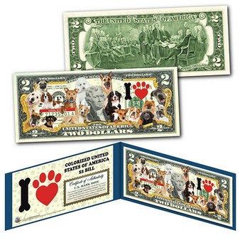 I Love Dogs Colorized $2 Bill Featuring 16 Different Breeds