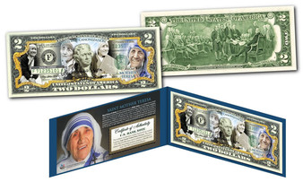 Mother Teresa Canonization Commemorative Colorized $2 Bill