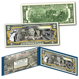75th Anniversary End of World War II Colorized $2 Bill