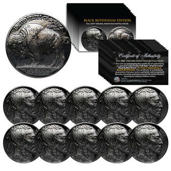 Lot of 10 Original Indian Head Buffalo Nickels Full Date - Black Ruthenium
