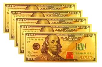 Set of Five (5) 24K Gold Foil $100 Novelty Bills
