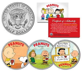 Peanuts Valentines 3 Coin JFK Set