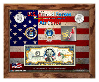 """U.S. Armed Forces Vintage Series Air Force Colorized Currency Set in 8"""" x 10"""" Frame"""