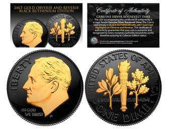 Black Ruthenium 24K Gold Clad Roosevelt Silver Dime
