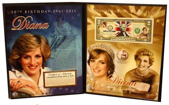 Princess Diana Deluxe 50th Birthday 1961-2011 Colorized $2 Bill & JFK Half Dollar in Deluxe Folio