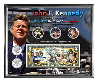 """John F. Kennedy Colorized Coin & Currency Set in 8"""" x 10"""" Frame"""