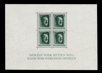 1937 #646 Block 7 Adolf Hitler 48th Birthday MH