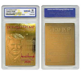 DONALD TRUMP 45th President 23K GOLD Sculpted Card Red SIGNATURE '20 GEM-MINT 10